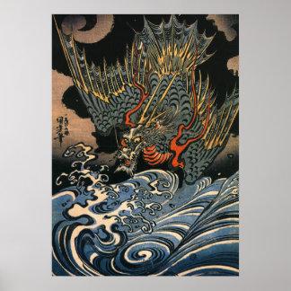 Vintage Japanese Dragon at Sea Poster