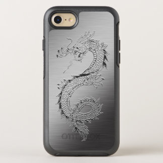 Vintage Japanese Dragon Brushed Metal Look OtterBox Symmetry iPhone 7 Case