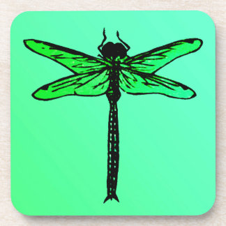 Vintage Japanese Dragonfly, emerald green Drink Coaster