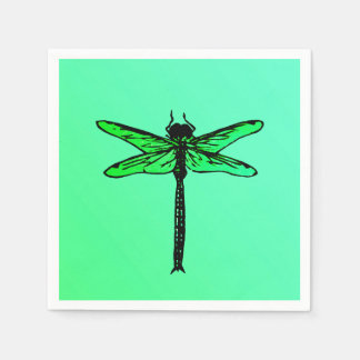 Vintage Japanese Dragonfly, emerald green Paper Napkin