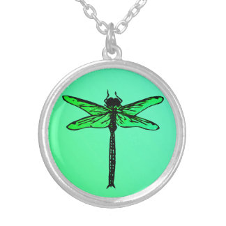 Vintage Japanese Dragonfly, emerald green Silver Plated Necklace