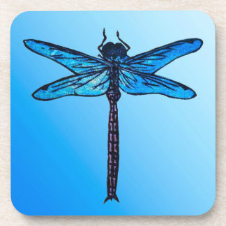 Vintage Japanese Dragonfly, sapphire blue Drink Coaster