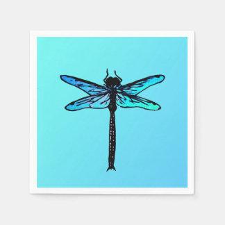 Vintage Japanese Dragonfly, turquoise blue Paper Napkin