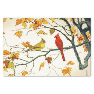 """Vintage Japanese drawing, Cardinals on a branch 10"""" X 15"""" Tissue Paper"""