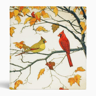 Vintage Japanese drawing, Cardinals on a branch Binder