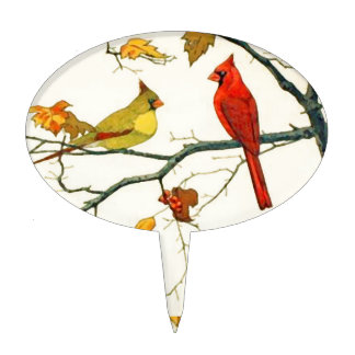 Vintage Japanese drawing, Cardinals on a branch Cake Topper