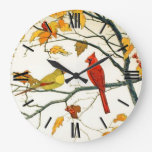 Vintage Japanese drawing, Cardinals on a branch Clocks