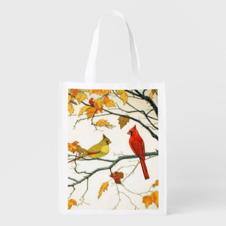 Vintage Japanese drawing, Cardinals on a branch Grocery Bag
