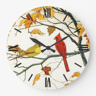 Vintage Japanese drawing, Cardinals on a branch Large Clock