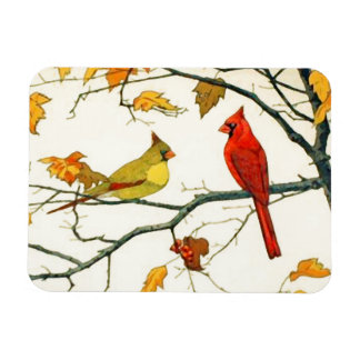 Vintage Japanese drawing, Cardinals on a branch Magnet