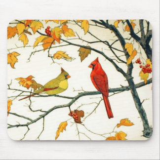 Vintage Japanese drawing, Cardinals on a branch Mouse Pad