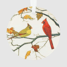 Vintage Japanese Drawing, Cardinals On A Branch Ornament at Zazzle