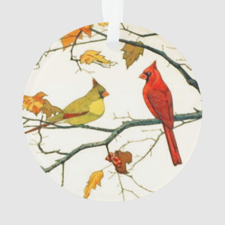 Vintage Japanese drawing, Cardinals on a branch Ornament