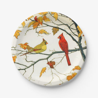 Vintage Japanese drawing, Cardinals on a branch Paper Plate