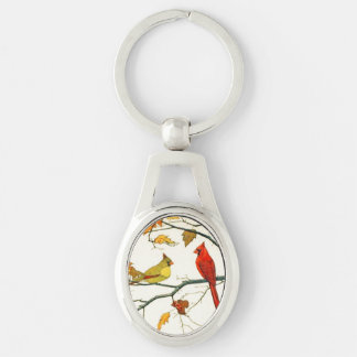 Vintage Japanese drawing, Cardinals on a branch Silver-Colored Oval Metal Keychain