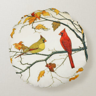 Vintage Japanese drawing, Cardinals on a branch Round Pillow