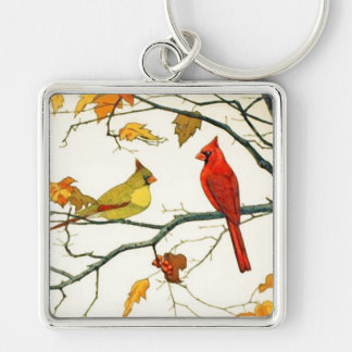 Vintage Japanese drawing, Cardinals on a branch Silver-Colored Square Keychain