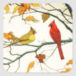 Vintage Japanese drawing, Cardinals on a branch Square Sticker