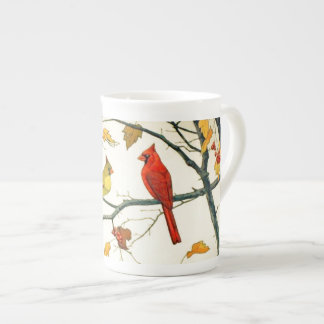 Vintage Japanese drawing, Cardinals on a branch Tea Cup