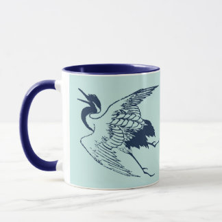Vintage Japanese Drawing of a Crane, Blue Mug