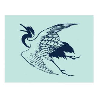 Vintage Japanese Drawing of a Crane, Blue Postcard