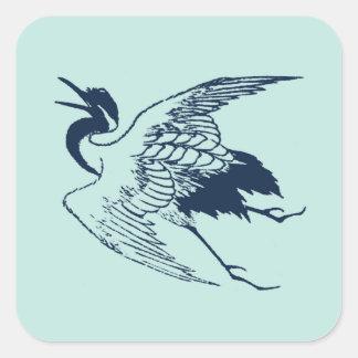 Vintage Japanese Drawing of a Crane, Blue Sticker