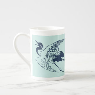 Vintage Japanese Drawing of a Crane, Blue Tea Cup