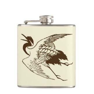 Vintage Japanese Drawing of a Crane, Brown Hip Flask