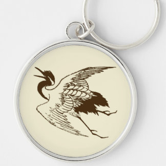 Vintage Japanese Drawing of a Crane, Brown Silver-Colored Round Keychain