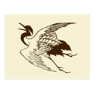 Vintage Japanese Drawing of a Crane, Brown Postcard