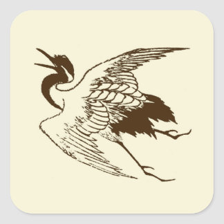 Vintage Japanese Drawing of a Crane, Brown Square Sticker