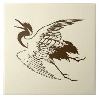 Vintage Japanese Drawing of a Crane, Brown Tile