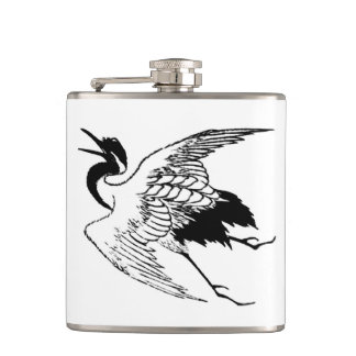 Vintage Japanese Drawing of a Crane Flask