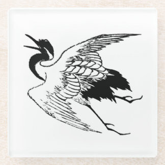 Vintage Japanese Drawing of a Crane Glass Coaster