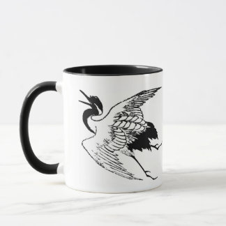Vintage Japanese Drawing of a Crane Mug
