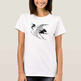 Vintage Japanese Drawing of a Crane T-Shirt