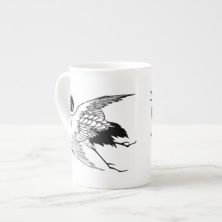 Vintage Japanese Drawing of a Crane Tea Cup