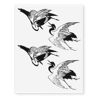 Vintage Japanese Drawing of a Crane Temporary Tattoos