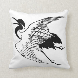 Vintage Japanese Drawing of a Crane Throw Pillow