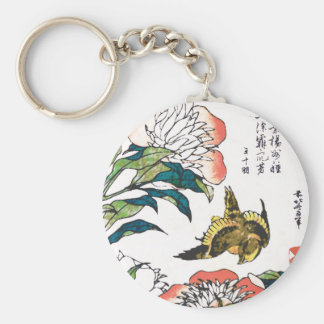 Vintage Japanese drawing, Peonies and Sparrow Basic Round Button Keychain