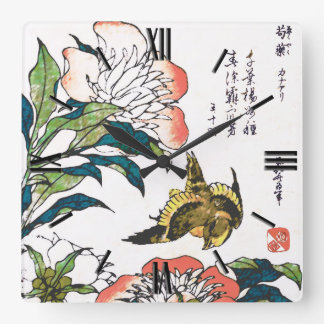 Vintage Japanese drawing, Peonies and Sparrow Square Wallclock