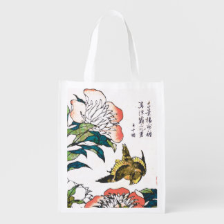 Vintage Japanese drawing, Peonies and Sparrow Grocery Bag