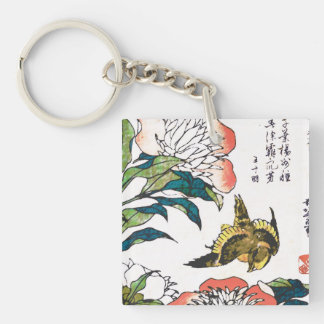 Vintage Japanese drawing, Peonies and Sparrow Double-Sided Square Acrylic Keychain