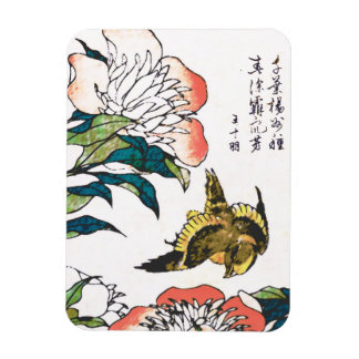 Vintage Japanese drawing, Peonies and Sparrow Magnet