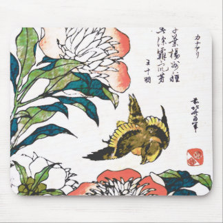 Vintage Japanese drawing, Peonies and Sparrow Mouse Pad