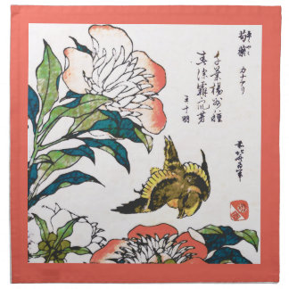 Vintage Japanese drawing, Peonies and Sparrow Cloth Napkin