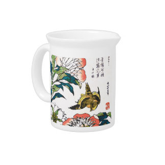 Vintage Japanese drawing, Peonies and Sparrow Pitcher