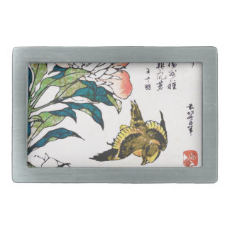 Vintage Japanese drawing, Peonies and Sparrow Rectangular Belt Buckle