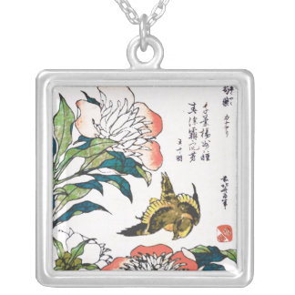 Vintage Japanese drawing, Peonies and Sparrow Silver Plated Necklace