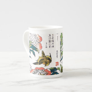 Vintage Japanese drawing, Peonies and Sparrow Tea Cup